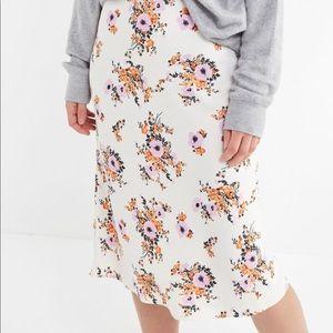 NWOT Floral Midi Slip Skirt
